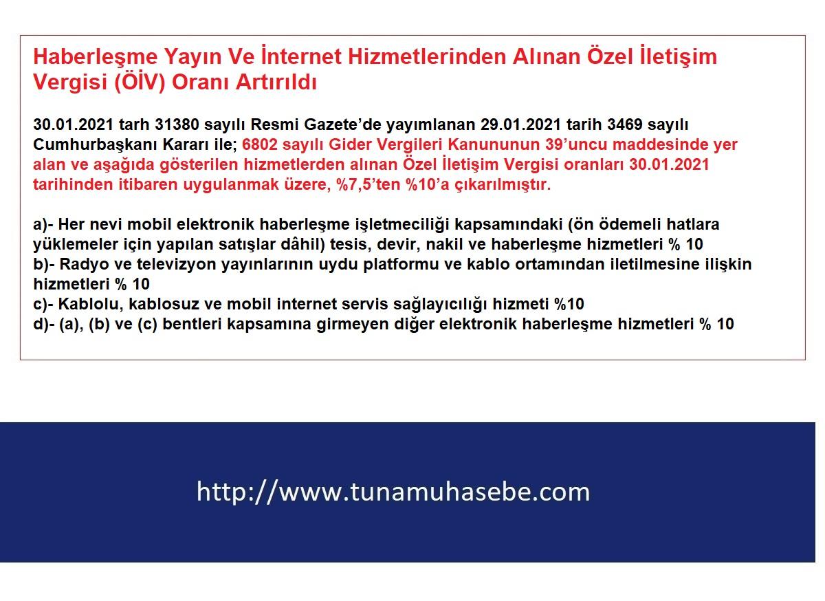 Haberleşme Yayın Ve İnternet Hizmetlerinden Alınan Özel İletişim Vergisi (ÖİV) Oranı Artırıldı