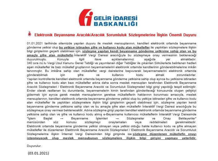 Elektronik Beyanname Aracılık/Aracılık Sorumluluk Sözleşmelerine İlişkin Önemli Duyuru Yayınlandı. 03.01.2020